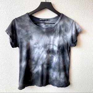 Brandy Melville Black & White Tie Dye Baby Tee O/S